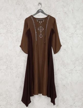 Casual wear brown color cotton kurti set