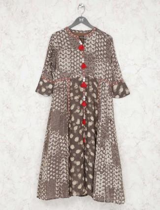 Casual wear brown hue printed kurti
