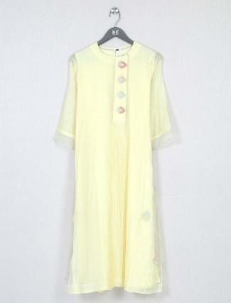 Casual wear lemon yellow cotton kurti for women