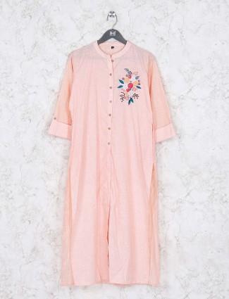 Casual wear peach color cotton kurti