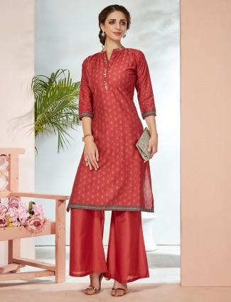 Casual wear printed cotton silk palazzo set