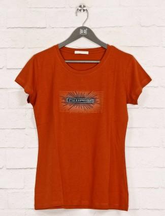 Casual wear printed rust orange top