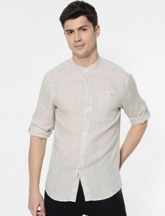 Celio casual solid beige linen shirt