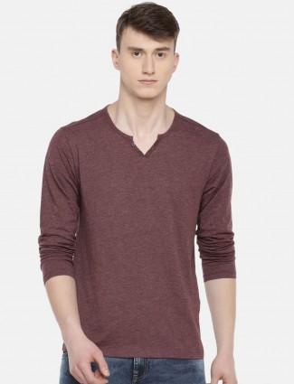 Celio maroon cotton casual wear t-shirt