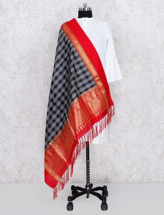 Checks pattern black dupatta in silk fabric