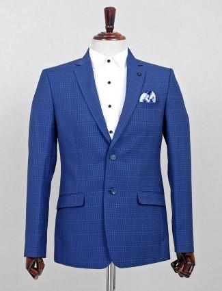 Checks pattern blue terry rayon blazer
