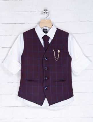 Checks purple and white waistcoat set