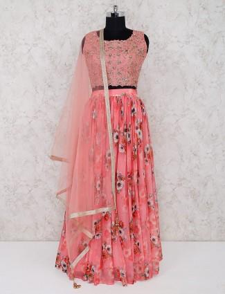 Chiffon pink color floral print lehenga choli