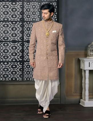 Brown silk designer sherwani set