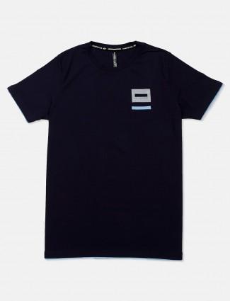 Chopstick cotton navy solid t-shirt