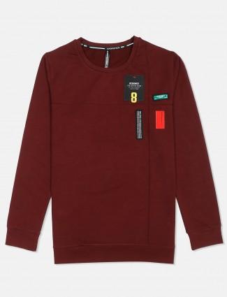 Chopstick round neck solid maroon t-shirt