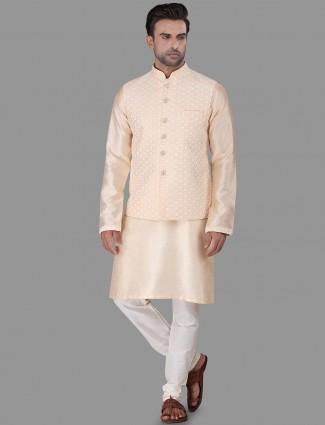 Classy cream raw silk waistcoat set
