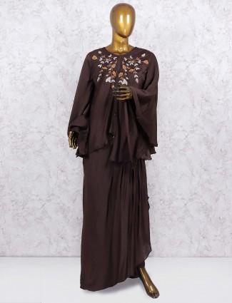 Coffee brown designer lehenga choli in cotton silk