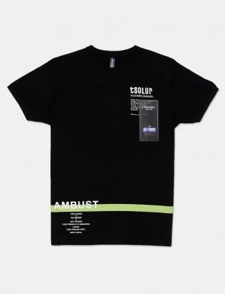 Cookyss black printed cotton mens t-shirt