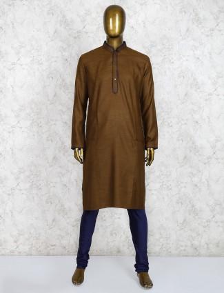 Cotton fabric brown full sleeves kurta suit