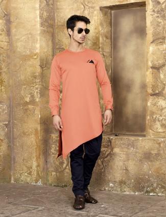 Cotton fabric peach kurta suit