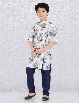 Cotton fabric white color printed kurta suit