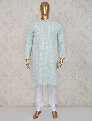 cotton green kurta suit