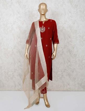 Cotton maroon festive kurti pant suit
