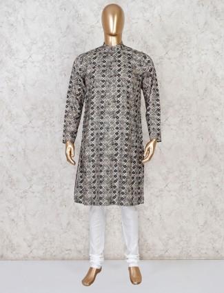 Cotton olive printed kurta suit