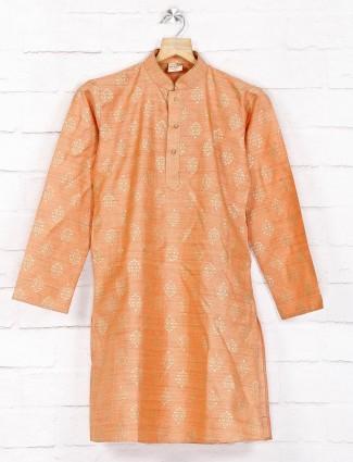 Cotton orange festive wear kurta suit
