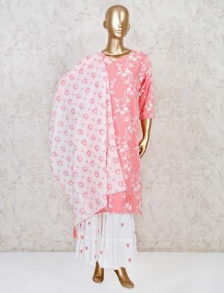 Cotton pink quarter sleeves punjabi sharara suit