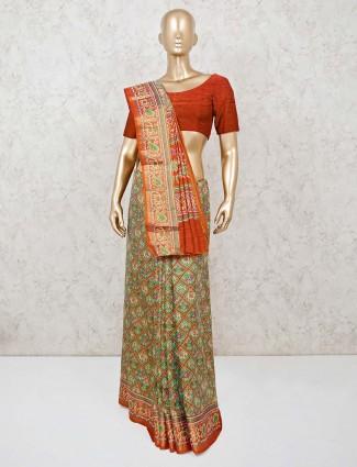 Semi silk printed green saree