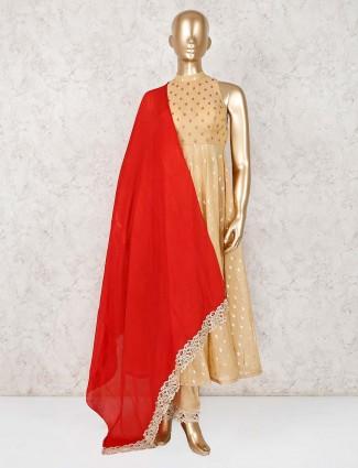 Cotton silk beige anarkali suit for wedding
