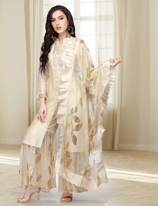 Cotton silk beige hue punjabi sharara suit