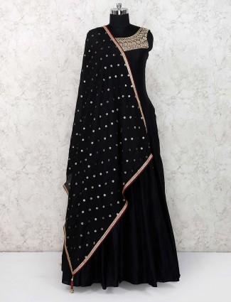 Cotton silk black color floor length anarkali salwar suit