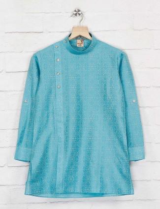 Cotton silk blue hue designer kurta suit