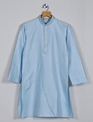 Cotton silk boys kurta suit in grey
