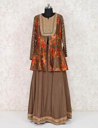 Cotton silk brown printed punjabi lehenga suit