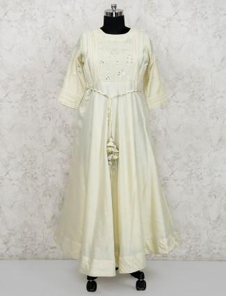 Cotton silk cream hue long salwar suit