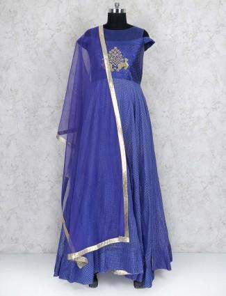 Cotton silk fabric blue hued floor length anarkali suit