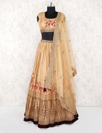 Cotton silk fabric brown hue printed lehenga choli
