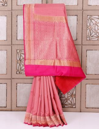 Cotton silk fabric coral pink saree