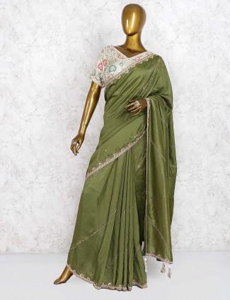 Cotton silk fabric green color wedding saree