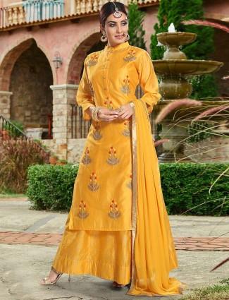 Cotton silk fabric orange hue lehenga cum salwar suit