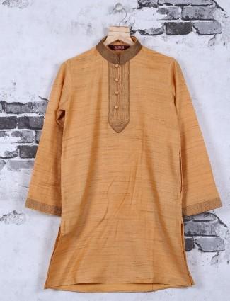 Cotton silk festive wear beige kurta suit