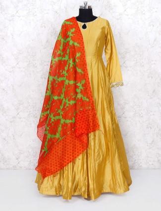 Cotton silk festive wear mustard yellow floor length anarkali salwar suit
