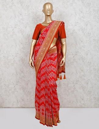 Cotton silk festive wear saree in red color