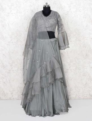 Cotton silk grey hue ruffle style lehenga choli