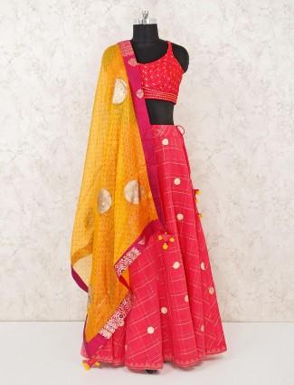 Cotton silk magenta lehenga choli for wedding