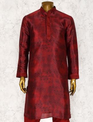 Cotton silk maroon color kurta suit