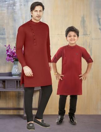 Cotton silk maroon solid pattern father son kurta suit
