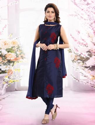 Cotton silk navy blue churidar salwar suit