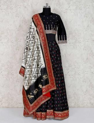 Cotton silk party wear black lehenga choli