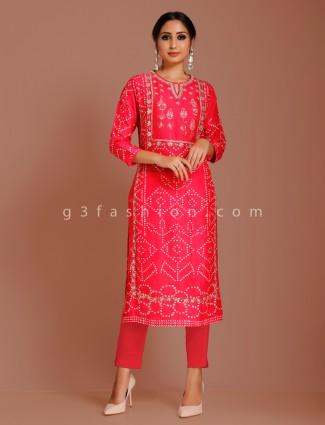 Cotton silk printed punjabi suit for festive