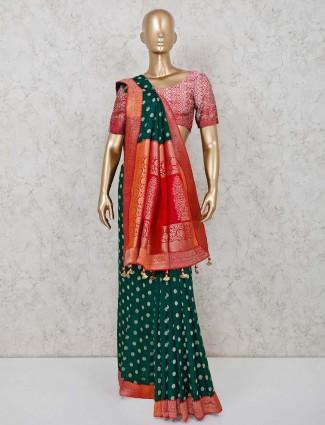 Cotton silk saree in green hue